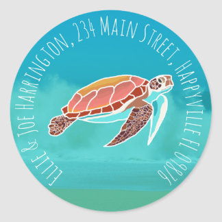 Seeschildkröte-runder Rücksendeadresse-Umschlag Runder Aufkleber