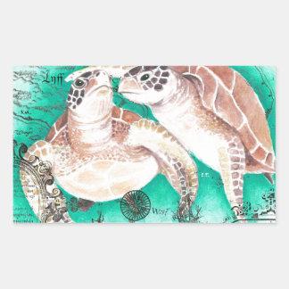 Seeschildkröten aquamarin rechteckiger aufkleber
