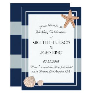 Seeseemann-Strand Stripes Hochzeits-Einladungen Karte