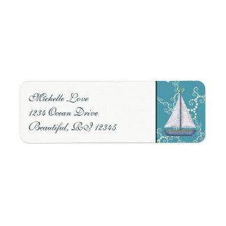 SeeSegelboot mit wirbelnder Wasser-Adresse Kleiner Adressaufkleber