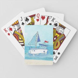 Seespielkarten mit Boot auf See Spielkarten