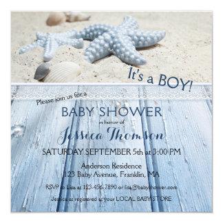 Seestrand-Baby-Duschen-Einladung Quadratische 13,3 Cm Einladungskarte