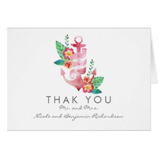 Seestrand - Blumenanker-Hochzeit danken Ihnen Mitteilungskarte