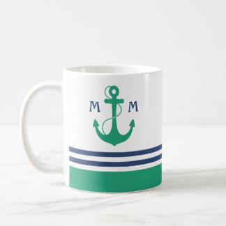 Seestreifen mit grünem Anker-Monogramm Kaffeetasse