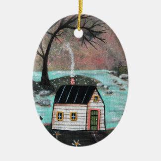 Seeufer-Insel-Meerblick Ovales Keramik Ornament