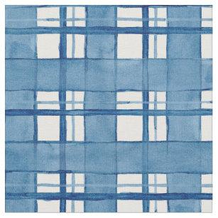 Seewatercolor-handgemaltes kariertes Muster Stoff