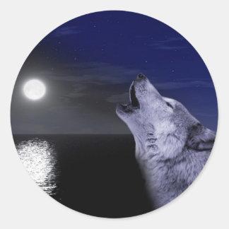 Seewolf - Mondwolf - Vollmond - wilder Wolf Runder Aufkleber