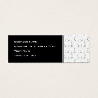 Segel-Boots-Muster. Schwarzweiss. Mini Visitenkarte