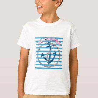 Segel-weg Seeanker mit blauen Streifen T-Shirt
