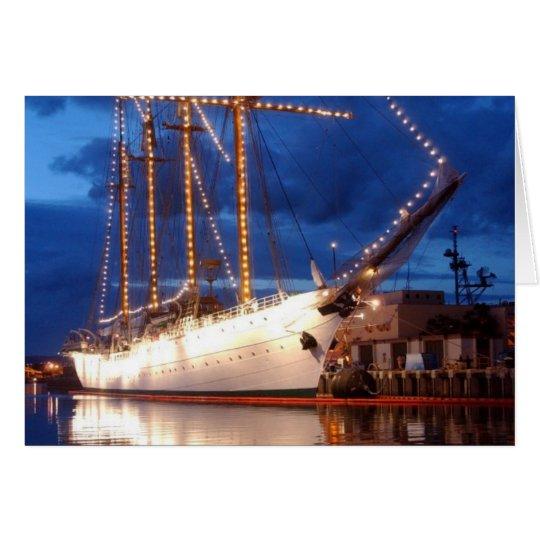 Segelboot mit Lichtern Grußkarte