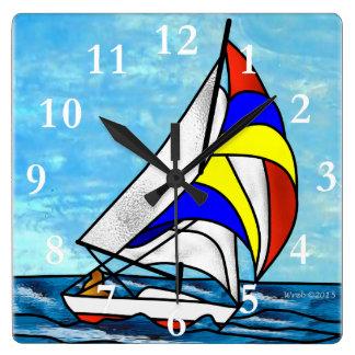 Segelboot Quadratische Wanduhr