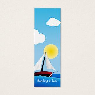 Segelboot- und Sonne  Lesezeichen Mini Visitenkarte