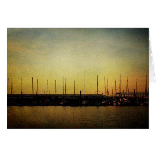 Segelboot- und Sonnenaufganganmerkungskarte Mitteilungskarte