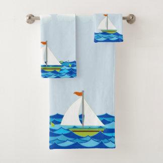 Segelboote Brown und Grün Badhandtuch Set