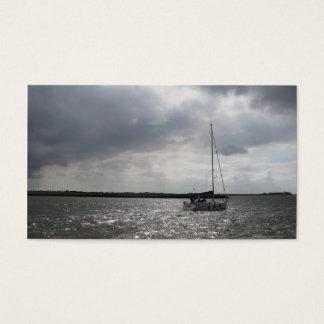 Segeln-Boots-Sturm-Himmel-kleine Foto-Karte Visitenkarte