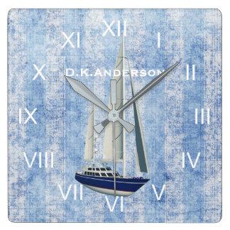 Segeln-Yacht-Uhr-Blau und Weiß Quadratische Wanduhr