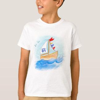 Segelnboots-Kunstnamenzahl auf Segel-T - Shirt