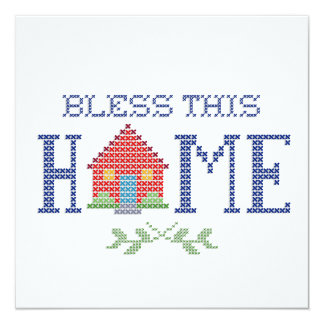 Segnen Sie diese Zuhause-Kreuz-Stich-Stickerei Karte