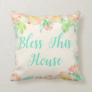 Segnen Sie diesen Blumen Hausaquamarinen Kissen