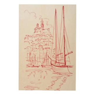 Sehen Sie alten Hafen Notre-Damede-La Garde  , Holzdruck