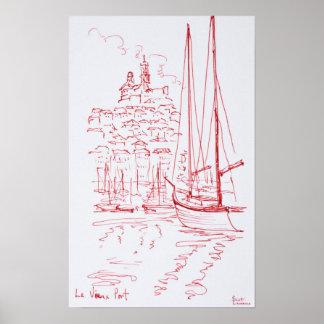 Sehen Sie alten Hafen Notre-Damede-La Garde  , Poster