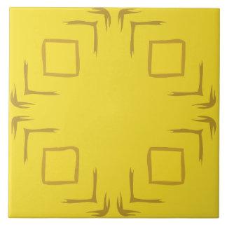Sehen Sie die Waldabstrakte Kunst-dekorative gelbe Große Quadratische Fliese