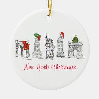 Sehenswürdigkeit-Weihnachtsverzierungen New York Rundes Keramik Ornament
