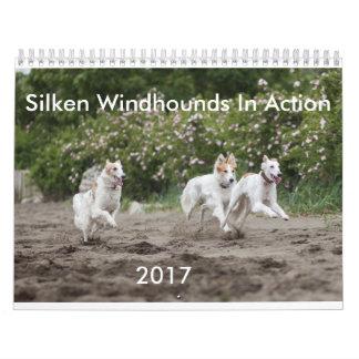 Seidenes Windhounds im Aktions-Kalender Kalender