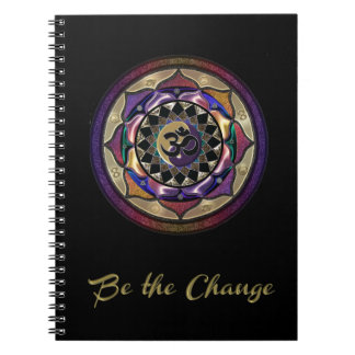 Seien Sie die Änderung mit Lila und Notizblock