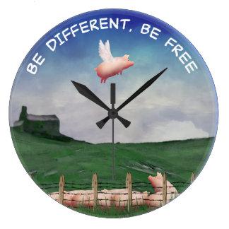 Seien Sie Differen't, seien Sie frei Große Wanduhr
