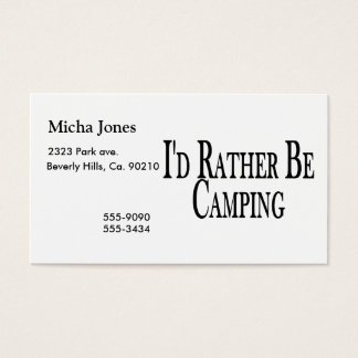 Seien Sie eher Camping Visitenkarte