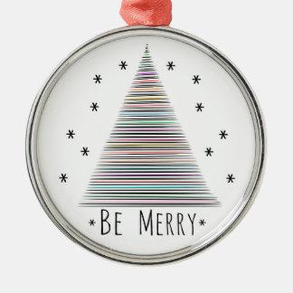 Seien Sie fröhliche erstklassige Verzierung Rundes Silberfarbenes Ornament
