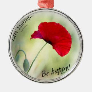 """""""Seien Sie glücklich! - Liebe sich… """" Silbernes Ornament"""