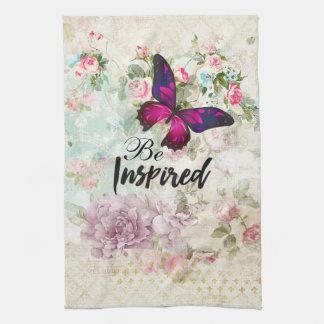 Seien Sie inspiriertes Zitat u. rosa Küchentuch