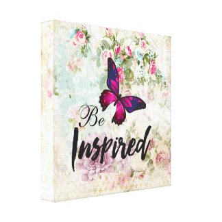 Seien Sie inspiriertes Zitat u. rosa Leinwanddruck