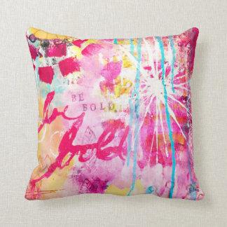Seien Sie mutiger Farben-Spritzer-abstraktes Kissen