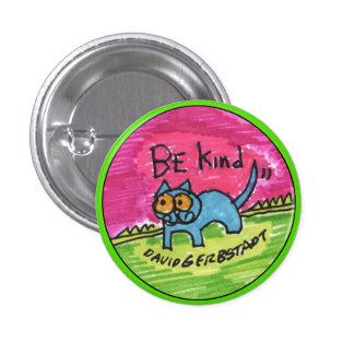 Seien Sie nette blaue Katze mit rosa Himmel Runder Button 3,2 Cm