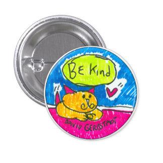 Seien Sie nette gelbe Katze mit Herzen Runder Button 3,2 Cm