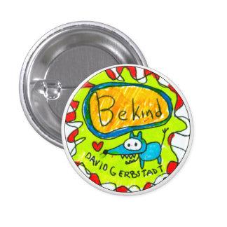 Seien Sie netter blauer Hund mit Herzen Runder Button 3,2 Cm