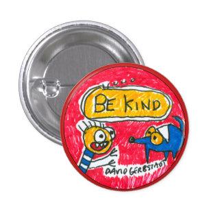 Seien Sie netter blauer Hund und Junge Runder Button 2,5 Cm