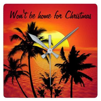 """""""Seien Sie nicht Zuhause für Weihnachten"""" Wand-Uhr Quadratische Wanduhr"""