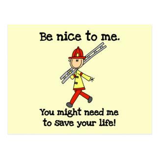 Seien Sie Nizza zu den Feuerwehrmann-T-Shirts und Postkarten