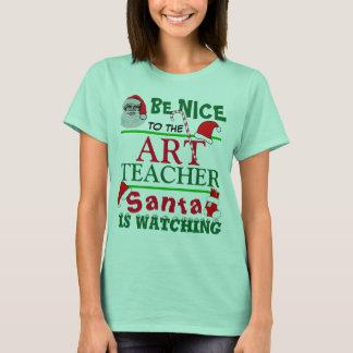 Seien Sie Nizza zum Kunstlehrer-Rot-T - Shirt