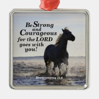 Seien Sie starkes und mutiges Bibel-Vers Deut 31 Silbernes Ornament