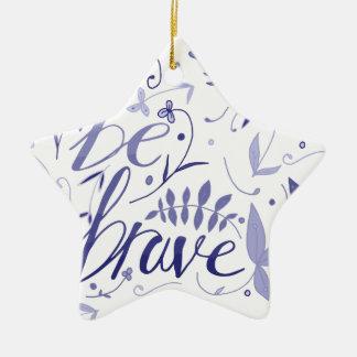 Seien Sie tapferes Blau Keramik Stern-Ornament