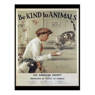 Seien Sie zu den Tieren - Vintages Plakat nett Postkarte