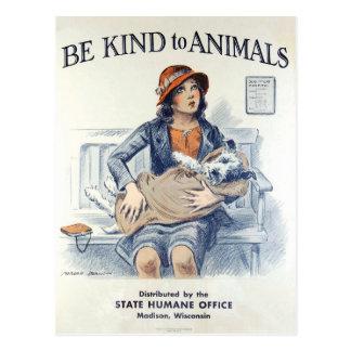 Seien Sie zu Vintager Postkarte Tiere USA nett