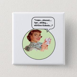 Seil-Schaufel-Lauge Quadratischer Button 5,1 Cm
