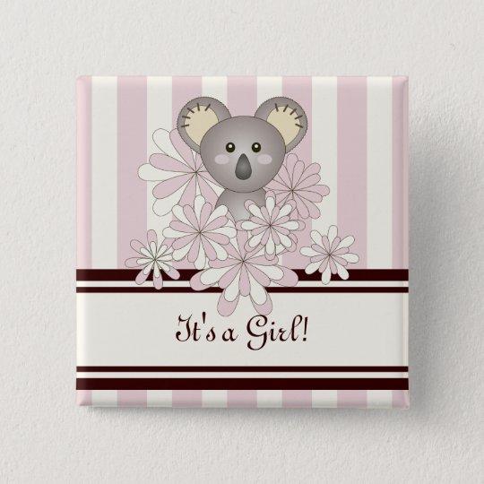 Sein ein Mädchen-Baby-Duschen-Tier-Koala-Rosa Quadratischer Button 5,1 Cm