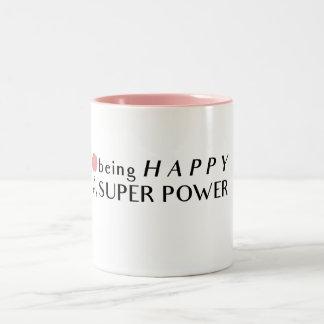 Sein glücklich ist meine SuperPower-Tasse Zweifarbige Tasse